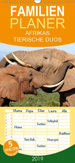 AFRIKAS TIERISCHE DUOS – Familienplaner hoch (Wandkalender 2019 , 21 cm x 45 cm, hoch) von Woyke,  Wibke