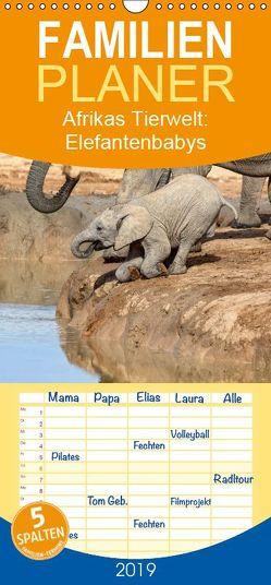 Afrikas Tierwelt: Elefantenbabys – Familienplaner hoch (Wandkalender 2019 , 21 cm x 45 cm, hoch) von Voss,  Michael
