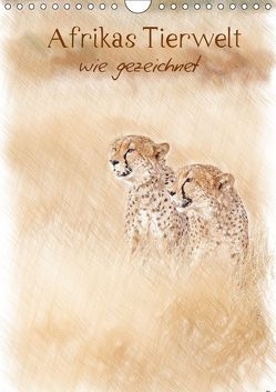 Afrikas Tierwelt – wie gezeichnet (Wandkalender 2019 DIN A4 hoch) von Jachalke,  Doris, Voss,  Michael