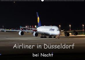 Airliner in Düsseldorf bei Nacht (Wandkalender 2020 DIN A2 quer) von Spoddig,  Rainer