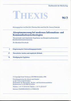 Akzeptanzmessung bei modernen Informations- und Kommunikationstechnologien von Belz,  Christian, Swoboda,  Bernhard, Tomczak,  Torsten