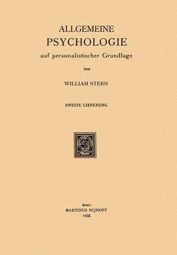 Allgemeine Psychologie auf personalistischer Grundlage von Stern,  William
