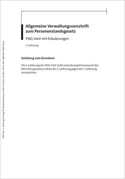 Allgemeine Verwaltungsvorschrift zum Personenstandsgesetz von Bornhofen,  Heinrich, Müller,  Ilona, Schmitz,  Heribert