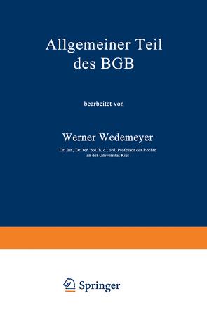 Allgemeiner Teil des BGB von Wedemeyer,  Werner
