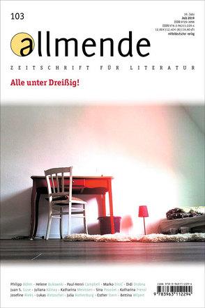 allmende 103 von Literarische Gesellschaft Karlsruhe, Schmidt-Bergmann,  Hansgeorg, Waltz,  Matthias