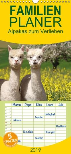 Alpakas zum Verlieben – Familienplaner hoch (Wandkalender 2019 , 21 cm x 45 cm, hoch) von Rentschler,  Heidi