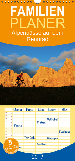 """Alpenpässe auf dem Rennrad """"Himmlische Serpentinen"""" – Familienplaner hoch (Wandkalender 2019 , 21 cm x 45 cm, hoch) von Rotter,  Matthias"""