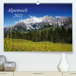 Alpenwelt 2021 (Premium, hochwertiger DIN A2 Wandkalender 2021, Kunstdruck in Hochglanz) von Schwarz,  Nailia