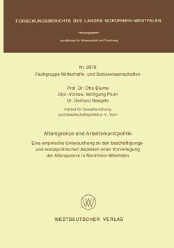 Altersgrenze und Arbeitsmarktpolitik von Blume,  Otto