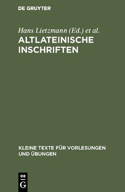 Altlateinische Inschriften von Diehl,  Ernst