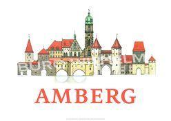 AMBERG Poster-Collage Stadtansicht | Kunstdruck DIN A3 von de la Riestra,  Pablo, Wilhelm,  Manfred