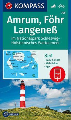 Amrum, Föhr, Langeneß im Nationalpark Schleswig-Holsteinisches Wattenmeer von KOMPASS-Karten GmbH