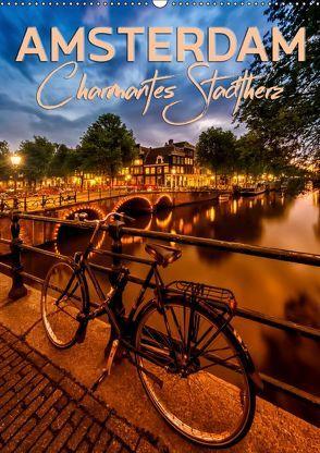 AMSTERDAM Charmantes Stadtherz (Wandkalender 2019 DIN A2 hoch) von Viola,  Melanie