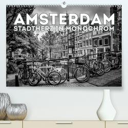 AMSTERDAM Stadtherz in Monochrom (Premium, hochwertiger DIN A2 Wandkalender 2021, Kunstdruck in Hochglanz) von Viola,  Melanie