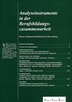 Analyseinstrumente in der Berufsbildungszusammenarbeit von Greinert,  Wolf Dietrich, Heitmann,  Werner, Rychetsky,  Hermann, Wiese,  Klaus