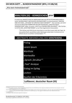 """ANALYSEN / OH MEIN GOTT … BUNDESFINANZHOF (BFH, I R 106/10) – ANALYSEN (III) – KENNZEICHEN """"BFH"""" von Deutschland,  (SP: D) Sozialkritische Professionals:, Faust,  C. M."""