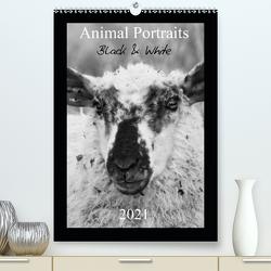 Animal Portraits Black & White 2021 CH Version (Premium, hochwertiger DIN A2 Wandkalender 2021, Kunstdruck in Hochglanz) von Hebgen,  Peter