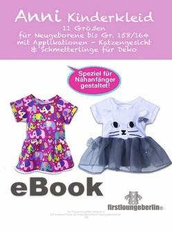 ANNI Kinderkleid Babykleid Schnittmuster mit Nähanleitung von firstloungeberlin von Schille,  Ina