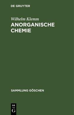 Anorganische Chemie von Klemm,  Wilhelm