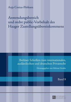 Anwendungsbereich und ordre public-Vorbehalt des Haager Zustellungsübereinkommens von Costas-Pörksen,  Anja