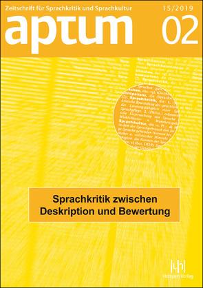 Aptum. Band 15, 2019, Heft 2 von Arendt,  Birte, Kiesendahl,  Jana, Schiewe,  Jürgen, Wengeler,  Martin