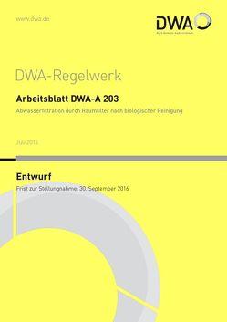 """Arbeitsblatt DWA-A 203 Abwasserfiltration duch Raumfilter nach biologischer Reinigung (Entwurf) von DWA-Arbeitsgruppe KA-8.3 """"Abwasserfiltration"""""""