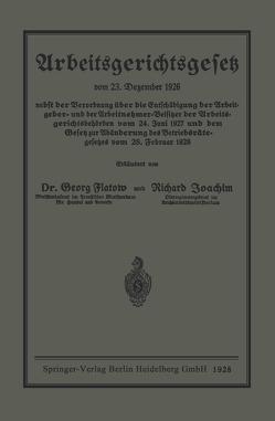 Arbeitsgerichtsgesetz von Flatow,  Georg, Joachim,  Richard