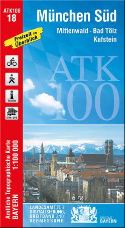 ATK100-18 München Süd (Amtliche Topographische Karte 1:100000) von Landesamt für Digitalisierung,  Breitband und Vermessung,  Bayern
