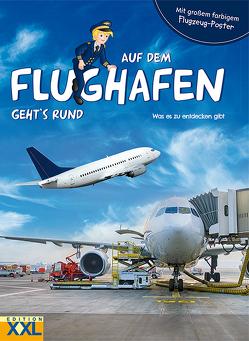 Auf dem Flughafen geht's rund – mit großem farbigem Flugzeug-Poster