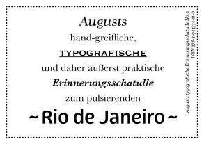 Augusts Erinnerungsschatulle Rio de Janeiro von August Dreesbach Verlag