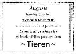 Augusts Erinnerungsschatulle Tiere von August Dreesbach Verlag