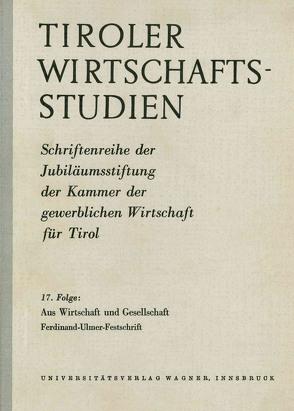 Aus Wirtschaft und Gesellschaft von Aubele,  Franz