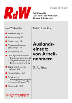 Auslandseinsatz von Arbeitnehmern von Marburger,  Horst