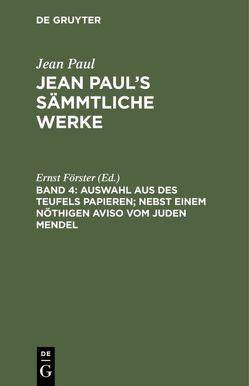 Auswahl aus des Teufels Papieren von Foerster,  Ernst, Paul,  Jean