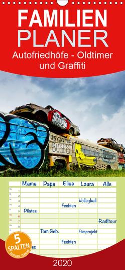 Autofriedhöfe – Oldtimer und Graffiti – Familienplaner hoch (Wandkalender 2020 , 21 cm x 45 cm, hoch) von Gerken,  Klaus