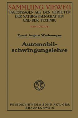Automobilschwingungslehre von Wedemeyer,  Ernst August