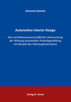 Automotive Interior Design von Hanisch, Johannes