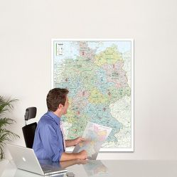 BACHER ORGA-Karte Deutschland, 1:700000, MA-BOARD Landkartentafel, aufgezogen, folienbeschichtet, magnethaftend und mit Aluleiste gerahmt