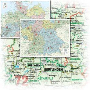 BACHER Organisations-Karte Gesamtdeutschland 1:500 000, Papierkarte gefalzt