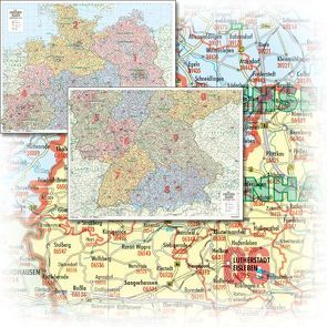 BACHER Postleitzahlenkarte Deutschland Maßstab 1:500 000, Papierkarte gerollt