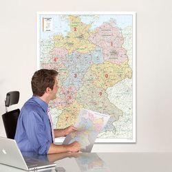BACHER Postleitzahlenkarte Deutschland, Maßstab 1:700 000, Papierkarte gerollt, folienbeschichtet
