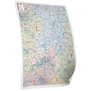 BACHER Postleitzahlenkarte Hessen Maßstab 1:250 000, Papierkarte gerollt, folienbeschichtet