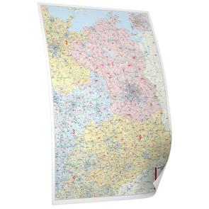 BACHER Postleitzahlenkarte Nord – Ost, Maßstab 1:350 000, Papierkarte gerollt, folienbeschichtet