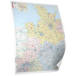 BACHER Postleitzahlenkarte Nord-West, Maßstab 1:350 000, Papierkarte gerollt, folienbeschichtet