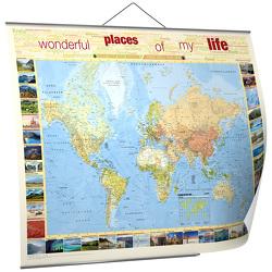 """BACHER Weltkarte """"Places of my life"""", 1:35 MIO., deutschsprachig, Papierkarte gerollt, folienbeschichtet und beleistet"""