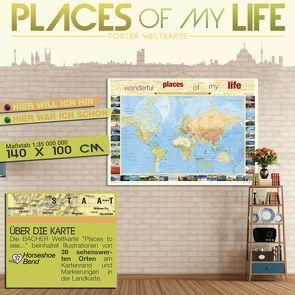 "BACHER Weltkarte ""Places of my life"", 1:35 Mio., deutschsprachig, Papierkarte gerollt, folienbeschichtet"
