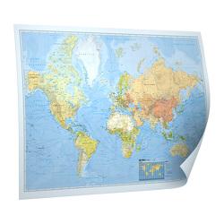 """BACHER Weltkarte """"Places of my life"""", 1:50 Mio., deutschsprachig, Papierkarte gerollt, folienbeschichtet und beleistet  Edition Neoballs (inkl. Magnetkugelset 5mm """"Neoballs"""" und Backdiscs (27x blau, 27x grün, 54 Backdiscs)"""