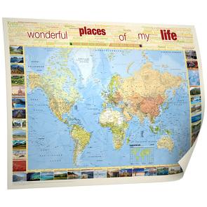 """BACHER Weltkarte """"Places of my life"""", 1:50 Mio., deutschsprachig, Papierkarte gerollt, folienbeschichtet und beleistet"""