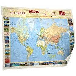 """BACHER Weltkarte """"Places of my life"""", 1:50 Mio., deutschsprachig, Papierkarte gerollt"""