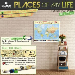 """BACHER Weltkarte """"Places of my life"""", Edition Neoballs, 1:51 Mio., beleistet"""